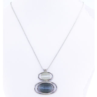 Necklace - Silver with Ovals in Black & White