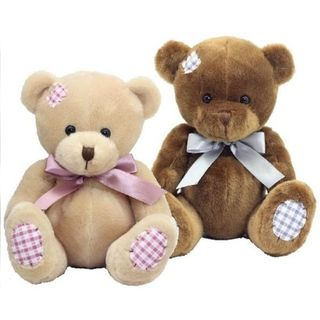 Gingham Bear 25cm Brown or Cream