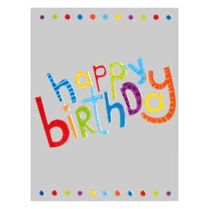 Gift Card: Happy Birthday (Silver with Dots)