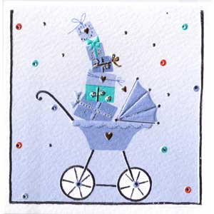 Italian Mini Gift Card - Blue Pram