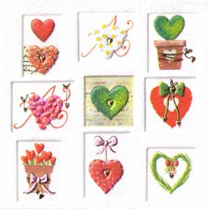 Italian Mini Gift Card - Hearts in Squares