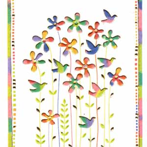 Italian Mini Gift Card - Birds & Flowers