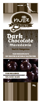 Nuttz Dark Chocolate Macadamias 90g