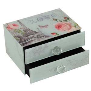 Glass Jewellery Box with 2 Drawers - Love/Roses