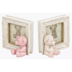 Teddy Bear Photoframe Bookends - Pink