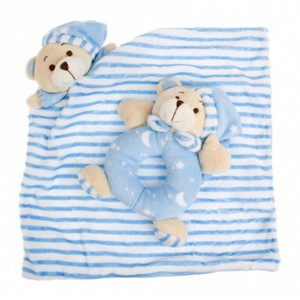 Sleepytime Bear Blanket and Rattle - Blue