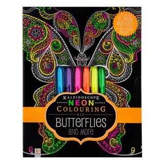 Kaleidoscope Neon Colouring Kit: Butterflies and More