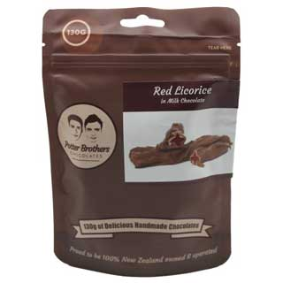 Potter Brothers Chocolates: Red Licorice in Milk Chocolate 130g