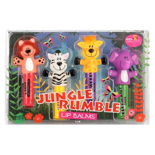Jungle Rumble Lip Balms with Finger Puppets Set