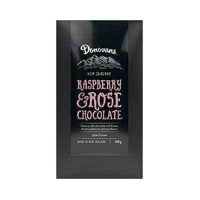 Donovans Raspberry & Rose Chocolate Bar 100g