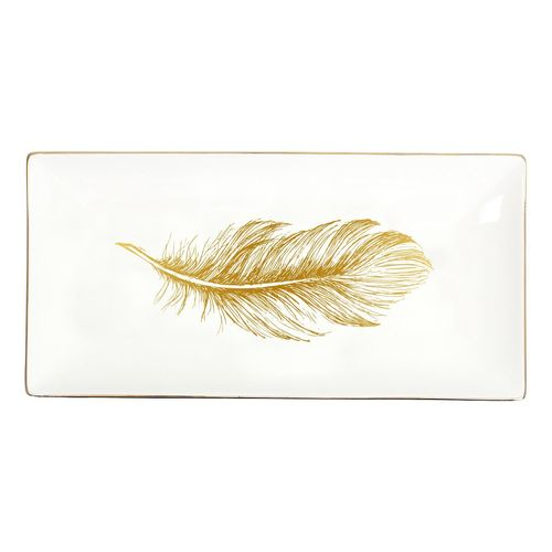 Tranquil Gold Feather Small Platter