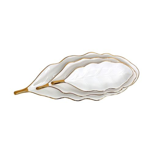 Tranquil Gold Feather Tray Set